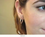 Sterling Silver Click-down Clasp Hoop Earrings (2.25mm), All Sizes