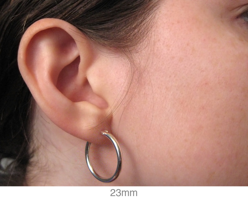 Sterling Silver Hoop Earrings with Click-Down Clasp (2mm), All Sizes - LooptyHoops