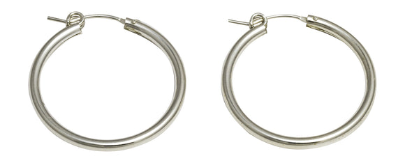 Sterling Silver Click-down Clasp Hoop Earrings (2mm), All Sizes - LooptyHoops