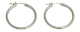 Sterling Silver Round Tube Hoop Earrings