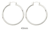 Sterling Silver Classic Click-Down Hoop Earrings (3mm), All Sizes