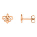 14K Rose Gold Fleur De Lis Post Stud Earrings, 7.45 x 8.25mm - LooptyHoops