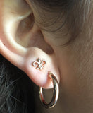 14K Rose Gold Fleur De Lis Post Stud Earrings, 7.45 x 8.25mm