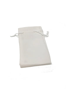 White Leatherette Jewelry Pouch w/Drawstring