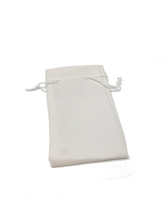 White Leatherette Jewelry Pouch w/Drawstring - LooptyHoops