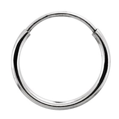 Single 14k White Gold Endless Hoop Earring (1mm) (12mm) - LooptyHoops