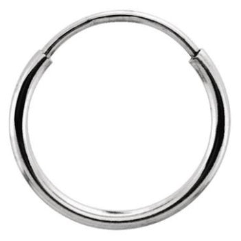 Single 14k White Gold Endless Hoop Earring (1mm) (15mm) - LooptyHoops