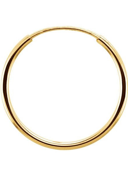 Single 14k Yellow Gold Endless Hoop Earring (1mm) (15mm) - LooptyHoops