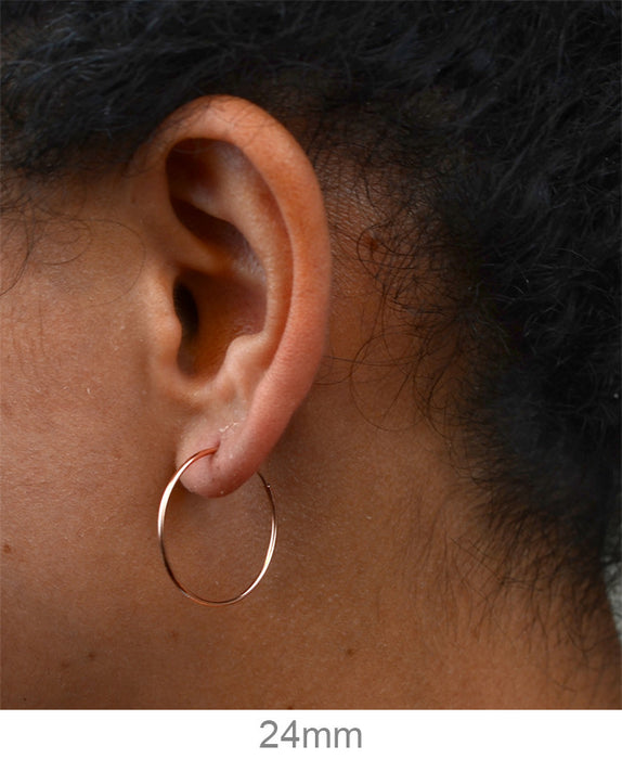 14k Rose Gold Thin Continuous Endless Hoop Earrings (1mm) All Sizes - LooptyHoops
