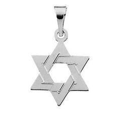 14K White Gold Star of David Charm Pendant, All Sizes