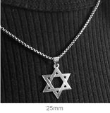 14K White Gold Star of David Charm Pendant, All Sizes - LooptyHoops