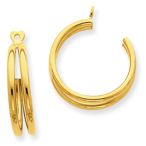 14k Yellow Gold Double Hoop Earring Jackets - LooptyHoops