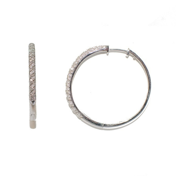 14k White Gold Diamond Hinged Hoop Earring (2mm Tube), 29mm