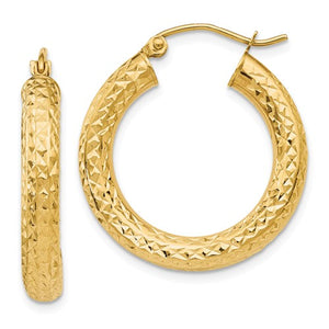 14K Yellow Gold Thick Diamond Cut Hoop Earrings - 25mm, 4mm Tube