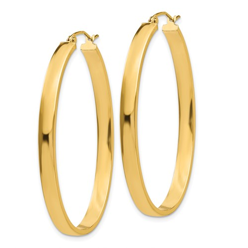 14k Yellow Gold 4mm Flat Oval Hoop Earrings, 48mm - LooptyHoops