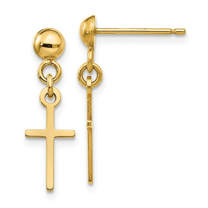 14k Yellow Gold Cross Dangle Earrings - LooptyHoops