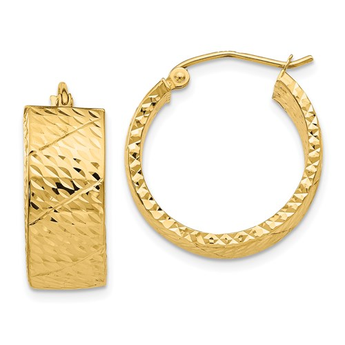 14k Yellow Gold Diamond Cut Hoop Earrings, Flat and Wide - 25mm (8mm thick) - LooptyHoops