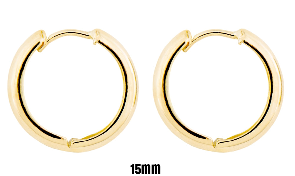 Small 14k Yellow Gold Wide Hinged Huggie Hoop Earrings, 0.5 In (12mm) or 0.6 In (15mm) (3mm Tube) - LooptyHoops