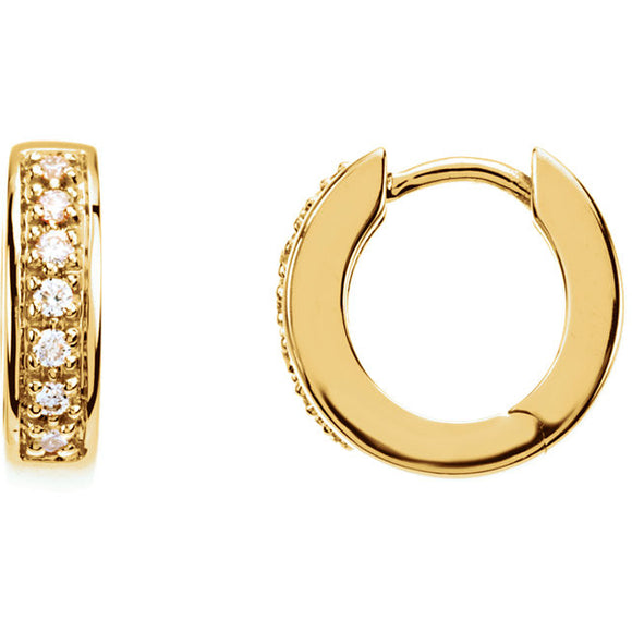 14k Yellow Gold Diamond Hinged Huggie Hoop Earrings
