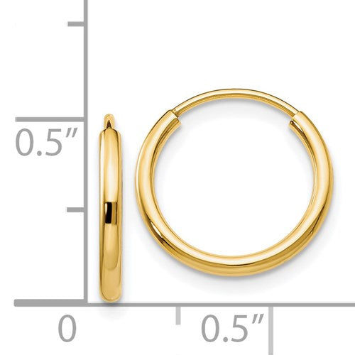 14k Yellow Gold Endless Hoops, 1.5mm (13mm) - Special Checkout Offer! - LooptyHoops