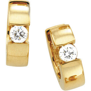 14K Yellow Gold Diamond Solitaire Hinged Huggie Hoop Earrings