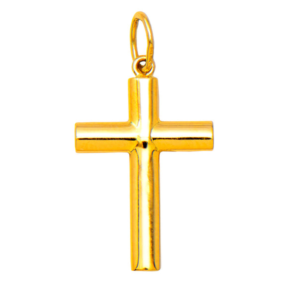 Small 14K Yellow Gold Classic & Traditional Cross Charm Pendant, 20mm x 13mm