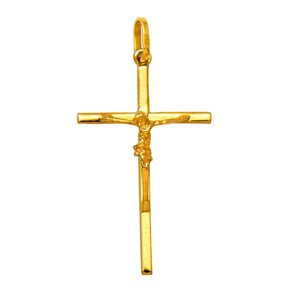 14K Yellow Gold Classic Crucifix Cross Pendant, 25mm x 15mm