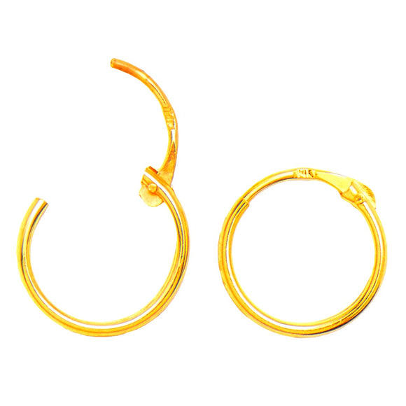 14k Yellow Gold EasyOn Hinged Thin Endless Hoop Earrings (1mm), All Sizes