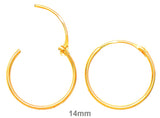 14k Yellow Gold EasyOn™ Hinged Thin Endless Hoop Earrings (1mm), All Sizes