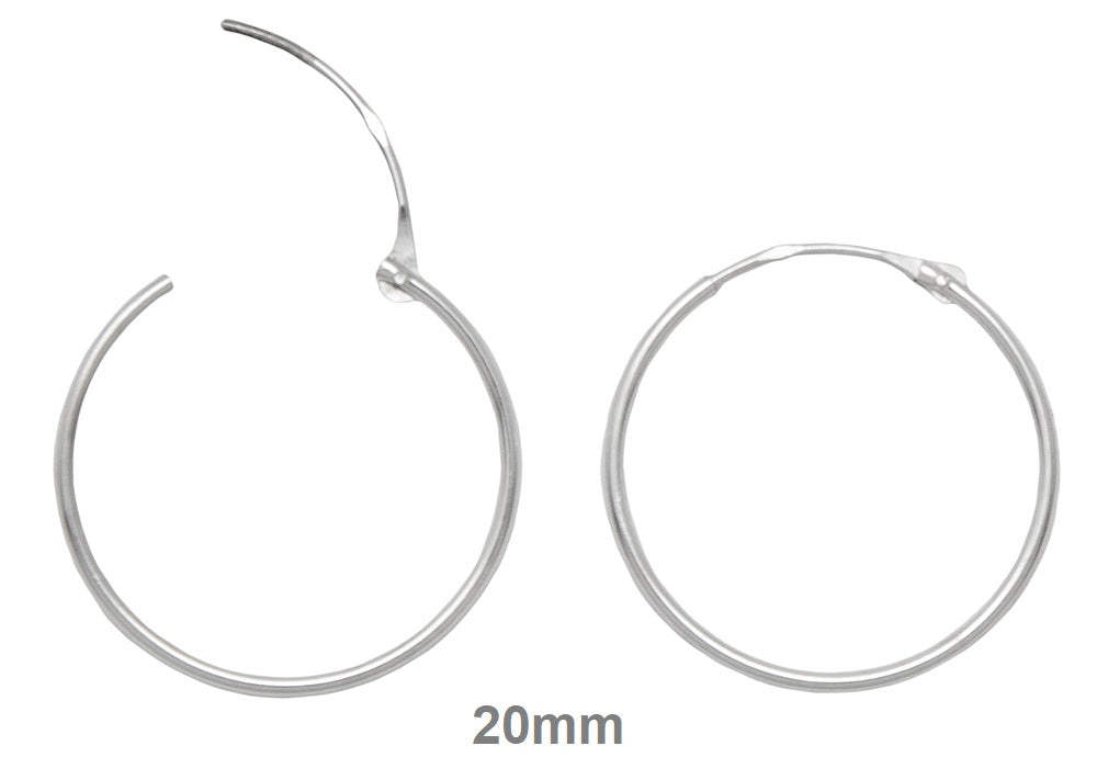 14k White Gold Hinged Thin Endless Hoop Earrings (1mm), All Sizes - LooptyHoops