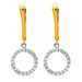 14k Yellow Gold Tiny CZ Circle Halo Dangle Earrings, 10mm - LooptyHoops