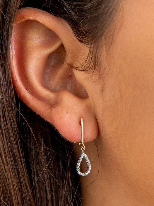 14k Yellow Gold Tiny CZ Teardrop Dangle Earrings, 10mm - LooptyHoops
