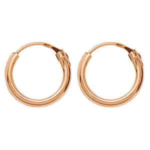 14k Rose Gold EasyOn Hinged Endless Hoop Earrings (1.5mm), All Sizes