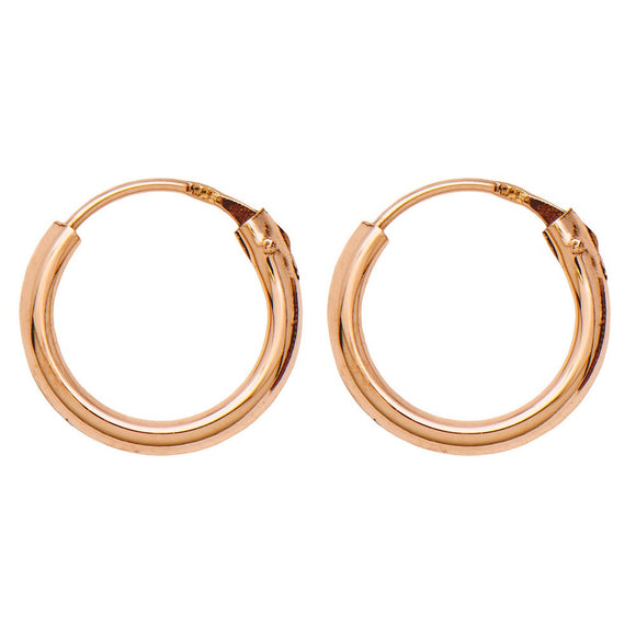 14k Rose Gold Hinged Endless Hoop Earrings (1.5mm), All Sizes