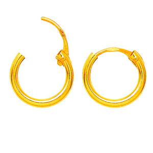 14k Yellow Gold Hinged Endless Hoop Earrings (1.5mm), All Sizes