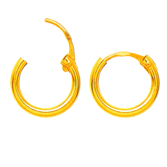 14k Yellow Gold Hinged Endless Hoop Earrings (1.5mm), All Sizes - LooptyHoops