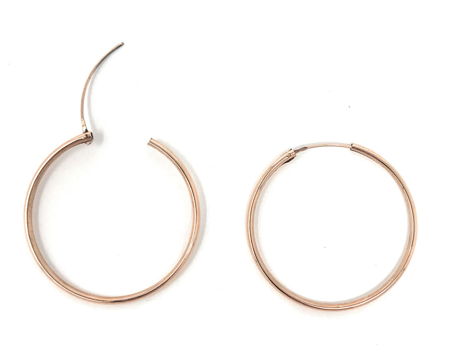 14k Rose Gold Endless Hinged Hoop Earrings (1.5mm), All Sizes - LooptyHoops