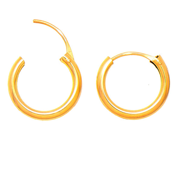 14k Yellow Gold Hinged Endless Hoop Earrings (2mm), All Sizes