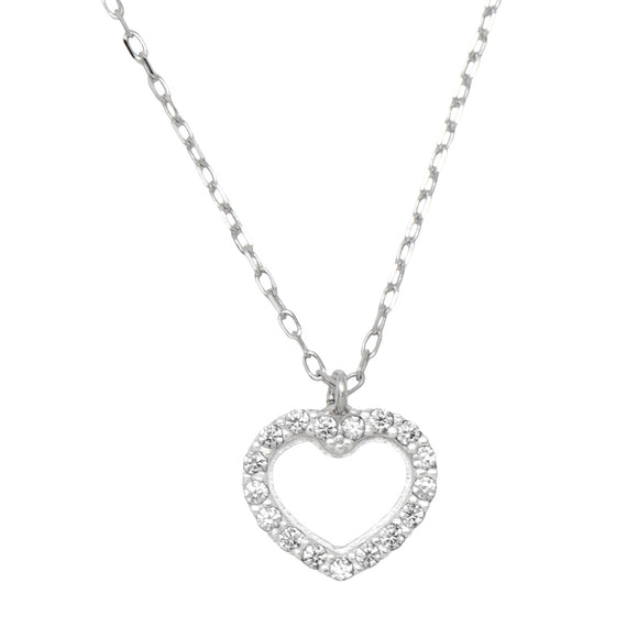 14k White Gold Tiny CZ Heart Pendant Necklace w/18-Inch Chain, 8mm - LooptyHoops