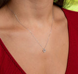 14k White Gold Tiny CZ Heart Pendant Necklace w/18-Inch Chain, 8mm