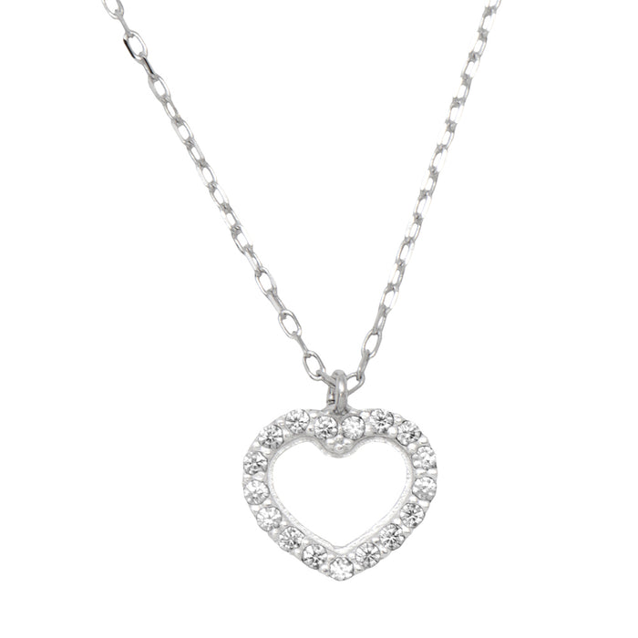 14k White Gold Tiny CZ Heart Stud Earrings & Matching Pendant w/18-Inch Necklace (Gift Set) - LooptyHoops