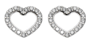 14k White Gold Tiny CZ Heart Stud Earrings, 8mm