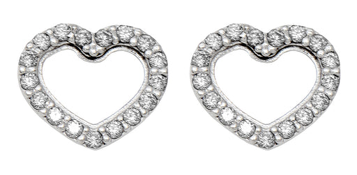 14k White Gold Tiny CZ Heart Stud Earrings, 8mm - LooptyHoops