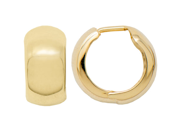 Thick 14K Gold Huggie Hinged Hoop Earrings .60 Inch (15mm) (8mm Wide) - LooptyHoops