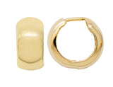 Thick 14K Gold Huggie Hinged Hoop Earrings .60 Inch (15mm) (8mm Wide)