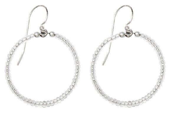 Handmade Dangling Beaded Hoop Earrings, 25mm