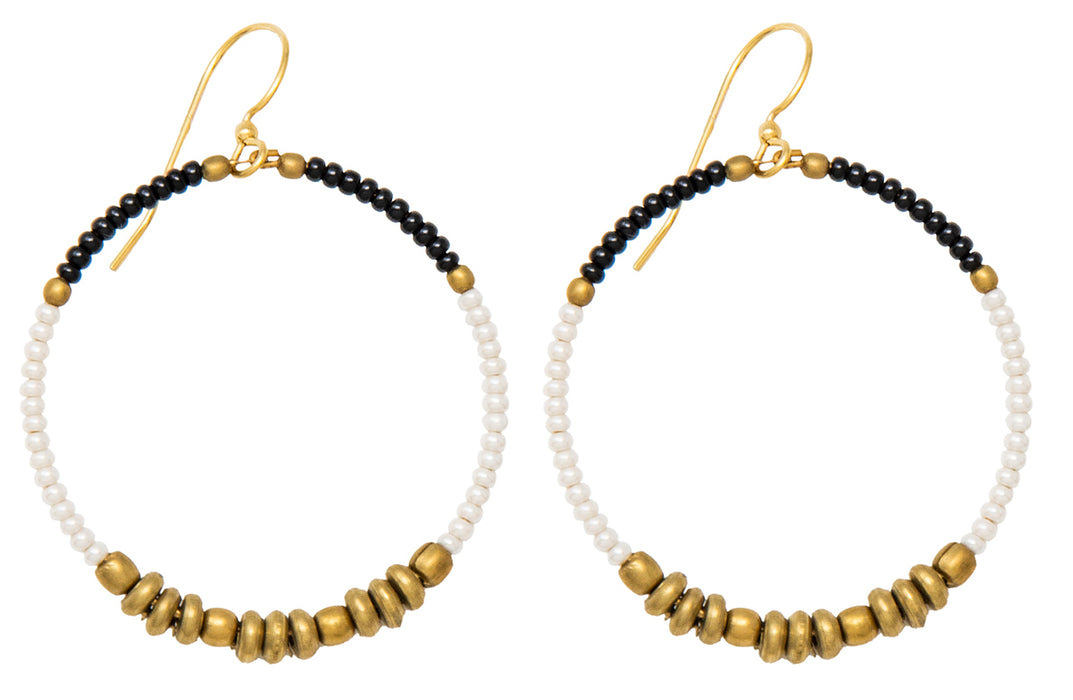 Handmade Dangling Beaded Brass Hoop Earrings, 35mm - LooptyHoops