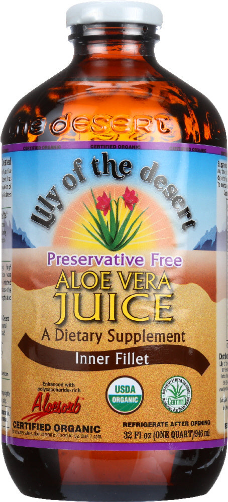 LILY OF THE DESERT: Organic Aloe Vera Juice Inner Fillet Preservative Free, 32 oz