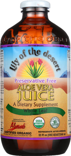 LILY OF THE DESERT: Organic Aloe Vera Juice Whole Leaf, 32 oz