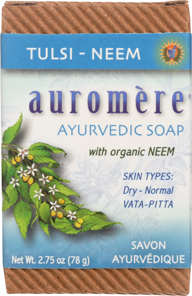 AUROMERE: Soap Bar Tulsi Neem 2.75 oz